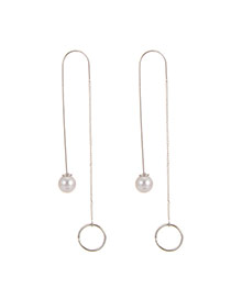 Fashion Silver Color Pearl+round Shape Decorated Pure Color Simple Earrings