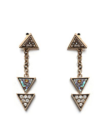 Exaggerated Gold Color Double Layer Triangle Shape Pendant Decorated Simple Earrings