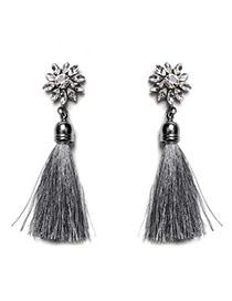 Vintage Gray Long Tassel Pendant Decorated Sunflower Shape Earrings