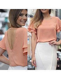 Casual Pink Pure Color Design Lotus Leaf Hem Flare Sleeve Loose Blouse