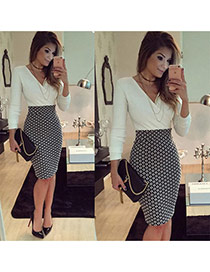 Fashion White+black Grid Pattern Decorated V Neckline Long Sleeve Patchwork Package Hip Pencil Dress