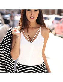 Casual White Pure Color Design V Neckline Larger Size Shoulder Strap Chiffon Vest