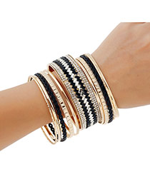 Lovely Black+gold Color Geometric Shape Diamond Decorated Simple Bracelet