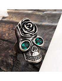 Personalty Silver Color Skull & Rose Decorated Simple Ring