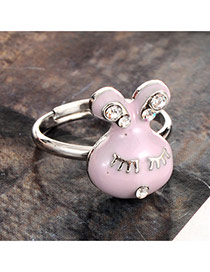 Lovely Purple Diamond Decorated Rabbit Design Simple Ring