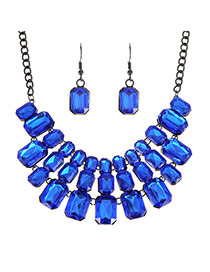Luxury Blue Square Shape Diamond Decorated Short Chain Jewelry Sets