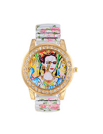 Fashion White Bird&queen Pattern Decorated Printing Flower Strap Watch