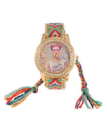 Lovely Green+red Girl Pattern Decorated Hand-woven Rope Simple Watch