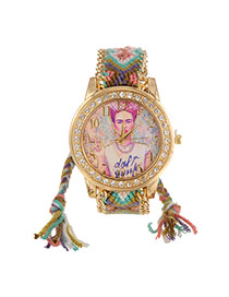 Lovely Green+pink Girl Pattern Decorated Hand-woven Rope Simple Watch