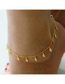 Fashion Gold Color Metal Leaf Pendant Decorated Simple Anklet