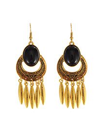 Exaggerate Gold Color Oval Gemstone Decorated Tassel Earrings