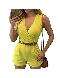Fashion yellow Pure Color Decorated V Neckline Sleeveless Simple Jumpsuit (with Waistbelt)