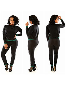 Sexy Black Color Matching Design Long Sleeve Slim Jumpsuit