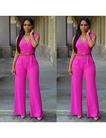 Fashion plum red Pure Color Design V Neckline Sleeveless Loose Jumpsuit(with Waistbelt)
