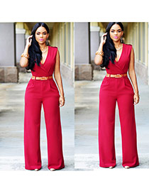 Fashion red Pure Color Design V Neckline Sleeveless Loose Jumpsuit(with Waistbelt)