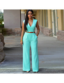 Fashion light blue Pure Color Design V Neckline Sleeveless Loose Jumpsuit(with Waistbelt)