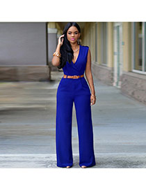 Fashion blue Pure Color Design V Neckline Sleeveless Loose Jumpsuit(with Waistbelt)