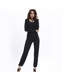 Sexy black Pure Color Design Round Neckline Long Sleeve Package Hip Jumpsuit