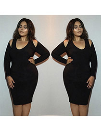 Sexy black Pure Color Design Long Sleeve Package Hip Large Size Long Dress