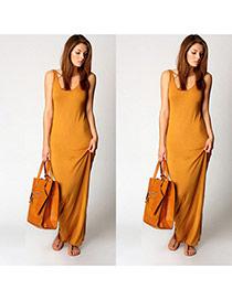 Elegant orange Pure Color Design sleeveless Package Hip Large Size Long Dress
