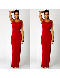 Elegant Red Round Neckline Design Pure Color Sleeveless Long Dress
