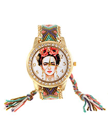 Vintage Green+pink Girl Pattern Decorated Hand-woven Strap Simple Watch