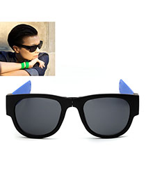 Vintage Sapphire Blue Color Matching Decorated Simple Folding Sunglasses