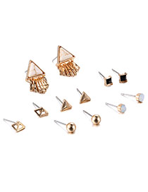 Fashion Khaki Triangle Gemstone Decorated Geometric Shape Earrings