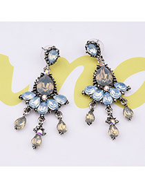 Vintage White Waterdorp Shape Diamond Decorated Earrings