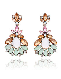Vintage Multi-color Waterdrop Shape Gemstone Decorated Earrings