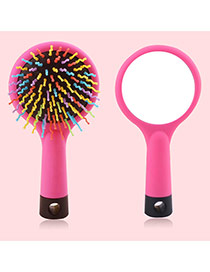 Cute Pink Wave Shape Decorated Simple Airbag Mirror Comb