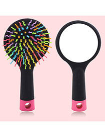 Cute Black Wave Shape Decorated Simple Airbag Mirror Comb