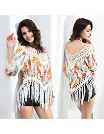 Casual Yellow+white Feather Pattern Decorated V Neckline Three Quaters Blouse