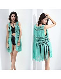 Fashion Green Tassel Decorated Hollow Out Design Smock