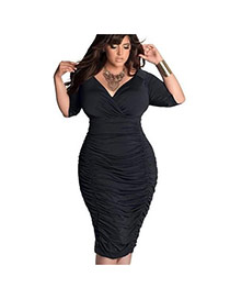 Sexy Black Pure Color Design V-neckline Three-quaters Sleeve Dress