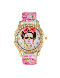 Fashion Plum Red Human Pattern Design Rose Pattern Belt Watch