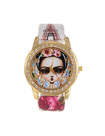 Fashion White Girl Dial Plate Decorated Eiffel Pattern Belt Watch