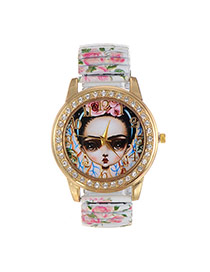 Fashion White Girl Dial Plate Decorated Flower Pattern Belt Watch