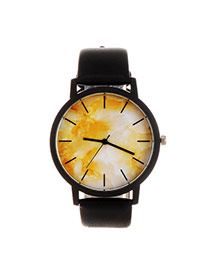 Trendy Yellow+black Marble Shape Pattern Decorated Pure Color Strap Watch