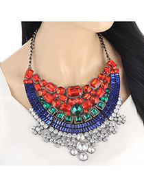 Luxury Red+sapphire Blue Geometric Shape Diamond Decorated Short Chain Necklace