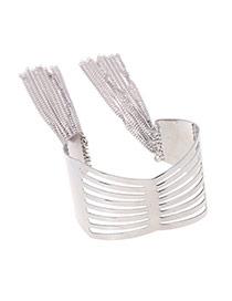 Fashion Silver Color Hollow Out Design Tassel Wide Opening Bracelet