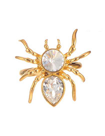 Lovely Gold Color Water Drop Shape Diamond Decorated Spider Shape Ring