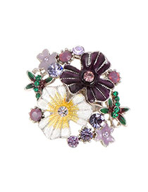 Fashion Purple Round Shape Diamond Decorated Flower Shape Ring