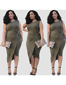 Sexy Dark Green Pure Color Decorated Sleeveless Fold Irregular Split Dress