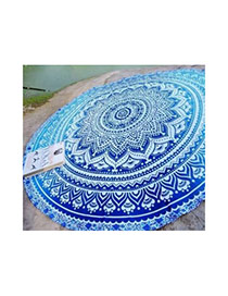 Bohemia Blue Flower Pattern Decorated Round Shape Scarf