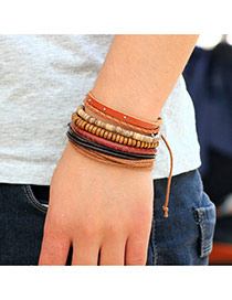 Retro Brown Little Rivet Decorated Multilayer Bracelet