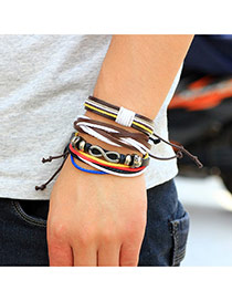 Retro Multi-color Metal 8 Shape Decorated Hand-woven Multilayer Bracelet