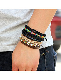 Vintage Multi-color Hand-woven Design Simple Multilayer Bracelet