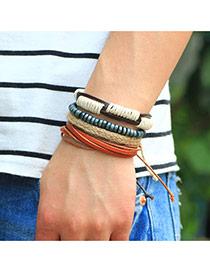Vintage Beige+brown Hand-woven Design Simple Multilayer Bracelet