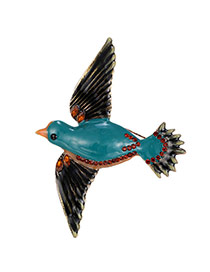 Delicate Gold Color+green Diamond Decorated Bird Design Simple Brooch